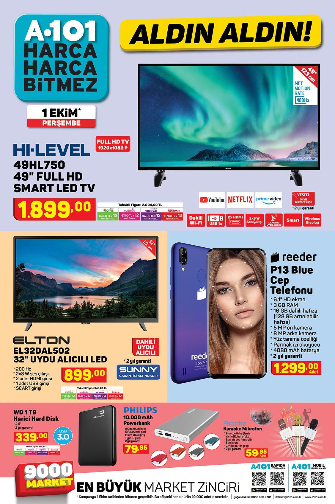 A101 Aktüel Aldın Aldın 01 Ekim - 08 Ekim Sayfa: 1
